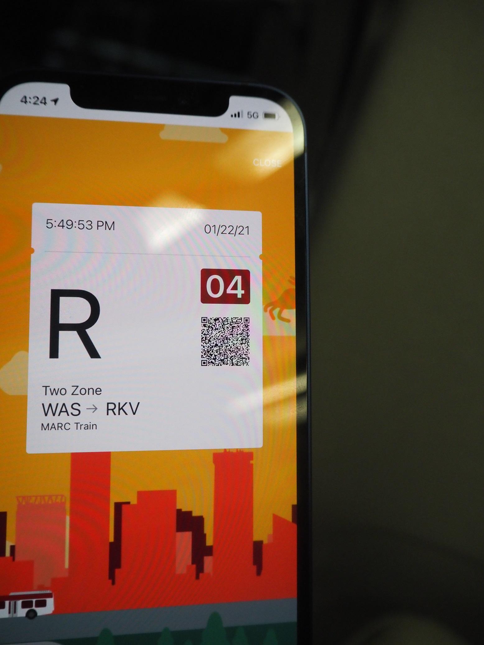 △スマホアプリで買ったMARCの切符=ワシントンで筆者撮影