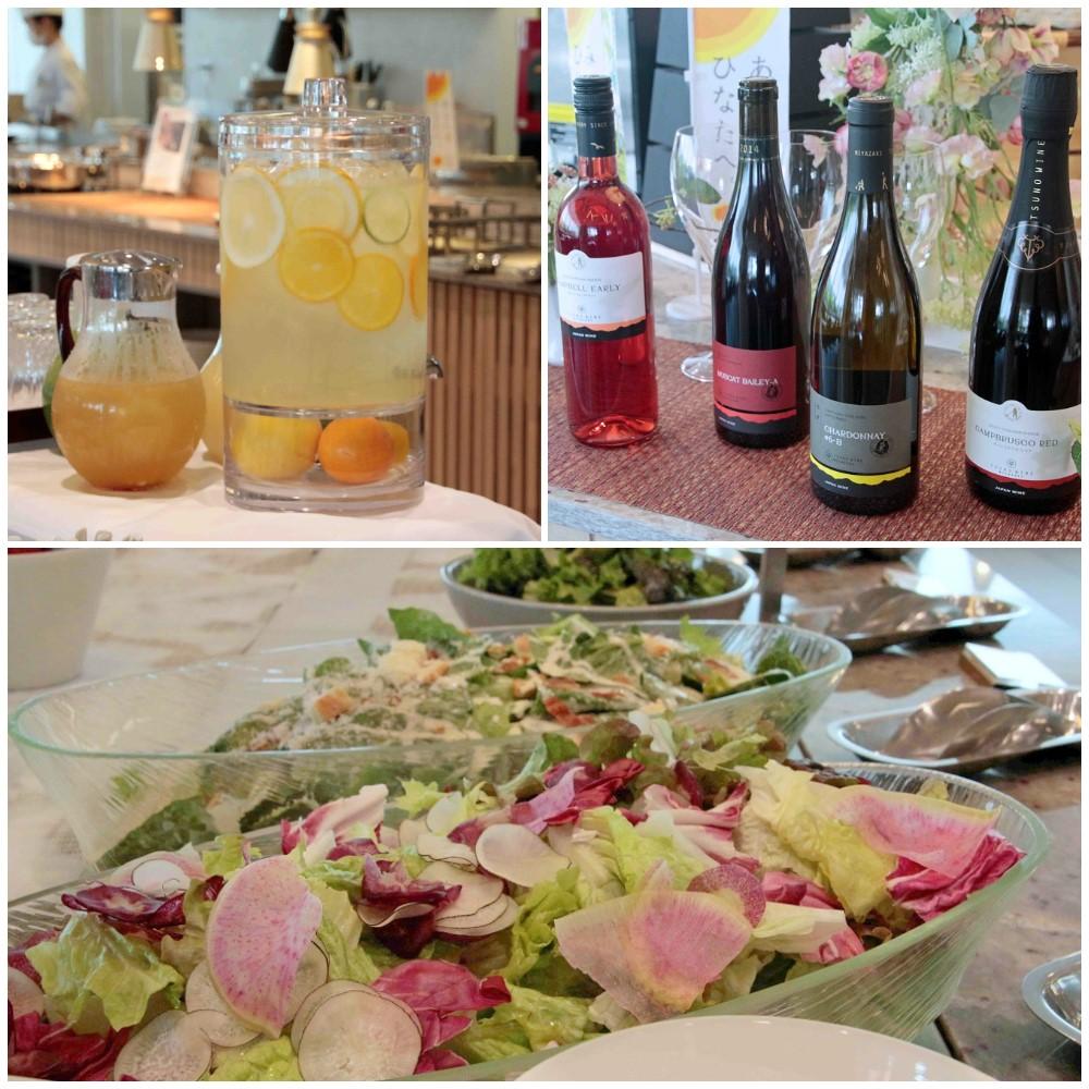 デトックスウォーター、都農ワインと新鮮なサラダ
